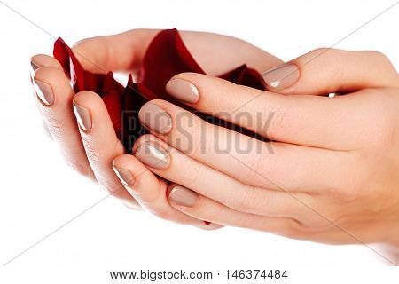 Beautiful Female Finger Nails With Natural Nail Closeup On Petal