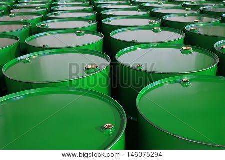 the a metal barrels of green color