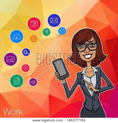 Vector woman with mobile smartphone app on white background. Woman with mobile app, startup, website. Cloud service, social network and technology with notification. Mobile notification of hackathon poster