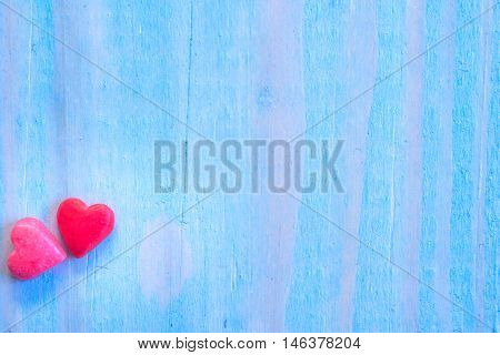 Valentines Day Background With Shugar Valentine Heart On Blue Painted Wood Table.retro Filter
