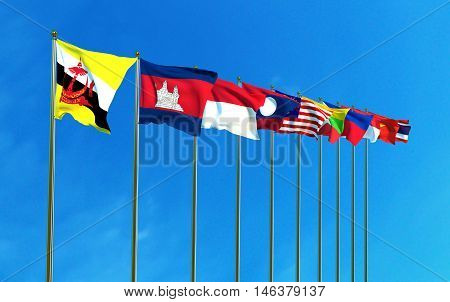 Asean Economic Community flags on the blue sky background. 3D illustration