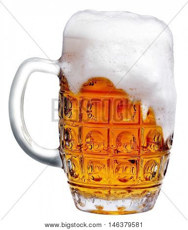 goblet of light beer foam. lager beer in a glass beaker with fresh bubbling foam. alcoholic fresh beverage  yellow color. pub drink. Isolated over white background.