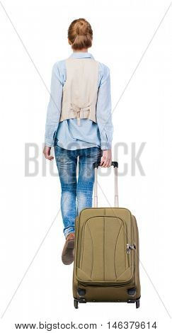 back view of walking  woman  with suitcase. beautiful girl in motion.  backside view of person.  Rear view people collection. Isolated over white background. girl takes a big suitcase on wheels