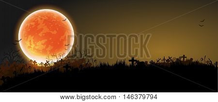 Halloween background with black night a cemetery and a moon
