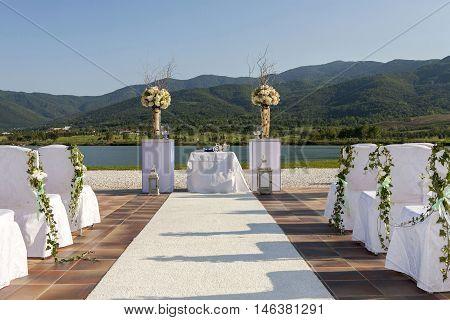 prepared accessories for beautifull summer wedding ceremony