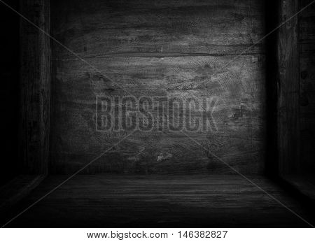 interior of black wood board background