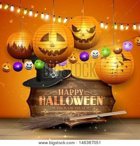 Happy Halloween greeting card with wooden sign old hat broom paper lanterns on orange background