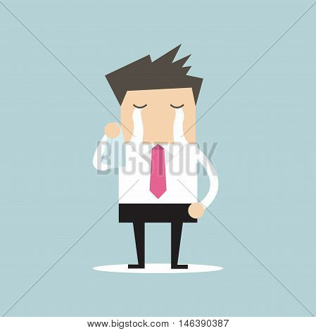Businessman standing and cry, failure business concept vector