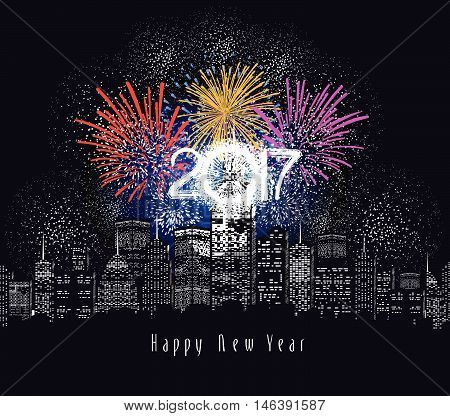 Happy new year fireworks 2017 holiday background design