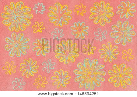 Watercolor Seafoam Blue And Yellow Abstract Flowers On Watercolor Pink Background