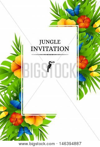 Tropical hawaiian background with jungle palm tree leaves exotic flowers and rainbow butterflies. Vertical vector invitation banners with hibiscus floral decorations and copy space