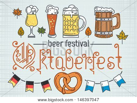 Oktoberfest design. Beer festival. Set of line modern color icons for Oktoberfest. Vector illustration