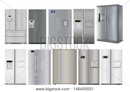 Refrigerator. Set of different models. Vector illustration isolated on white background