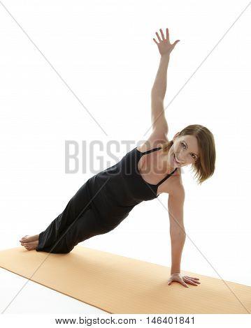 Yoga Asana young woman on white background