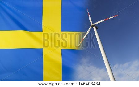 Concept clean energy with flag of Sweden merged with wind turbine in a blue sunny sky