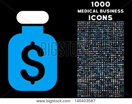 Business Remedy vector bicolor icon with 1000 medical business icons. Set style is flat pictograms blue and white colors black background.