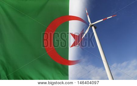 Concept clean energy with flag of Algeria merged with wind turbine in a blue sunny sky