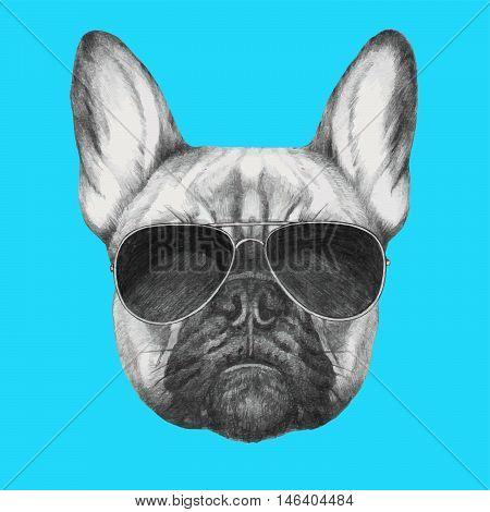 Hand drawn portrait of French Bulldog with sunglasse.