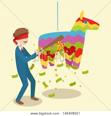 Businessman breaks the pinata. Festive event. Cartoon colorful vector illustration