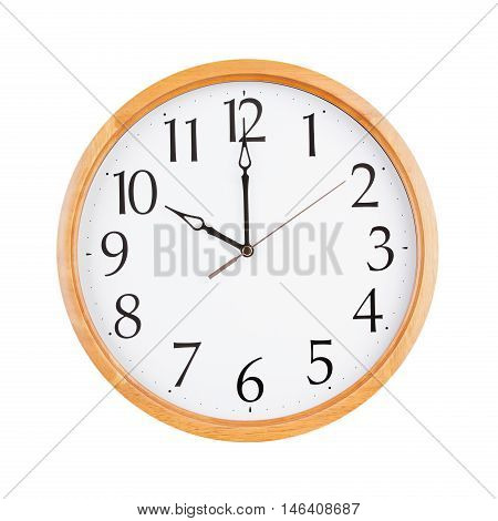 Exactly ten o'clock on the round clock