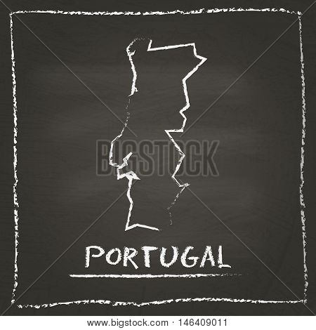 Portugal Outline Vector Map Hand Drawn With Chalk On A Blackboard. Chalkboard Scribble In Childish S