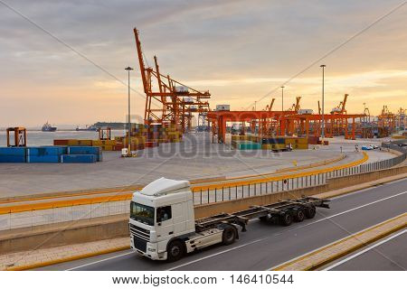 ATHENS, GREECE - SEPTEMBER 09, 2016: Container port of Piraeus at sunset on September 09, 2016.