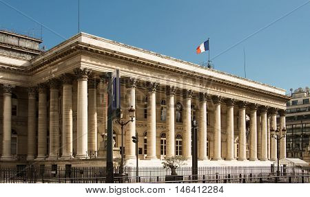 The Paris Bourse located in Brongniart palace in the 2nd arrondissement of Paris France.