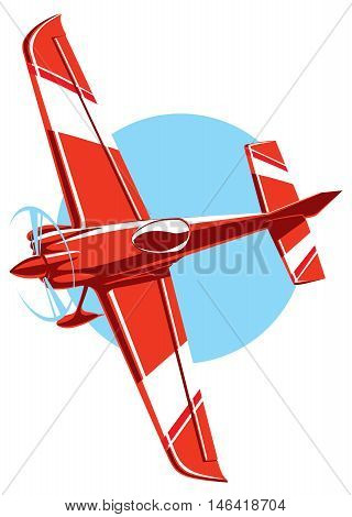 Vector red sport plane with propeller. small airplane