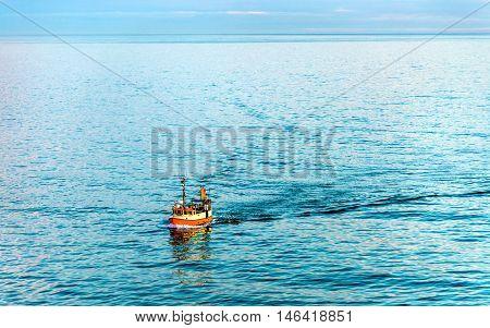 Boat in the Skagerrak Strait near Port of Hirtshals - Denmark