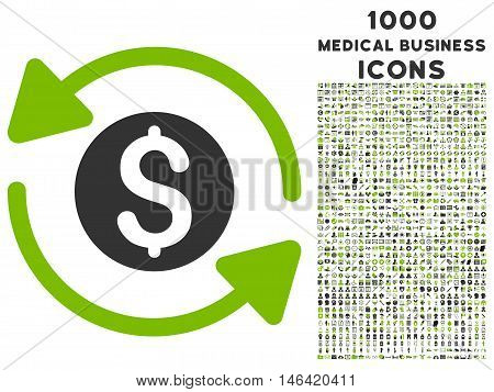 Money Turnover glyph bicolor icon with 1000 medical business icons. Set style is flat pictograms eco green and gray colors white background.