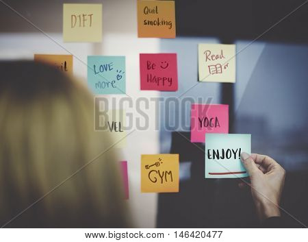 Enjoy Positivity Mindset Thinking Wellness Concept