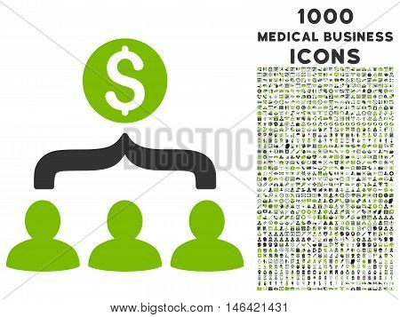 Sales Funnel glyph bicolor icon with 1000 medical business icons. Set style is flat pictograms eco green and gray colors white background.