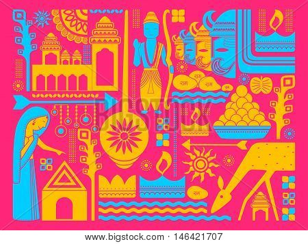 vector illustration of Happy Dussehra festival background kitsch art India