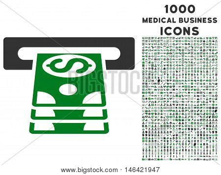 Bank Cashpoint glyph bicolor icon with 1000 medical business icons. Set style is flat pictograms green and gray colors white background.