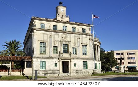 MIAMI FLORIDA - USA - OCTOBER 29 2012: Coral Gables City Hall is a historic site in Coral Gables, Florida. On July 24, 1974, it was added to the U.S. National Register of Historic Places.