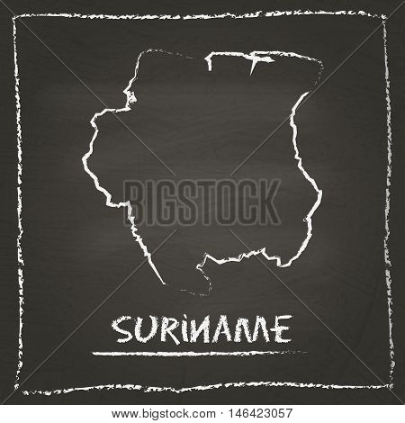 Suriname Outline Vector Map Hand Drawn With Chalk On A Blackboard. Chalkboard Scribble In Childish S