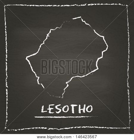Lesotho Outline Vector Map Hand Drawn With Chalk On A Blackboard. Chalkboard Scribble In Childish St