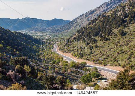 Panoramic view on road to Faraggi Samarias canyon on Creete island in Greece