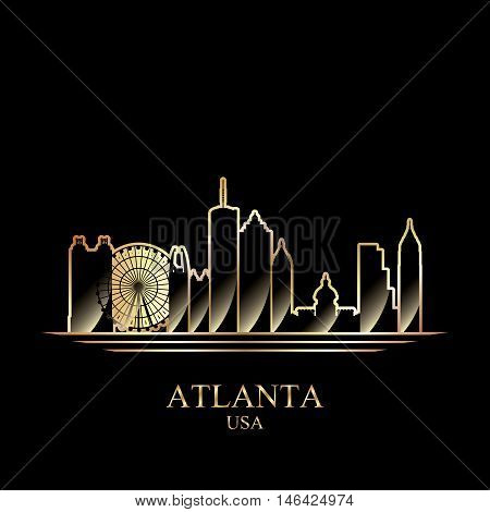 Gold Silhouette Of Atlanta On Black Background