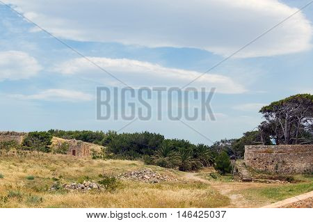 Ruins of old town in Rethymno Crete Greece. It largest castle in central Europe