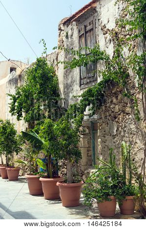 Traditional olden house in old town Rethimno Crete Greece