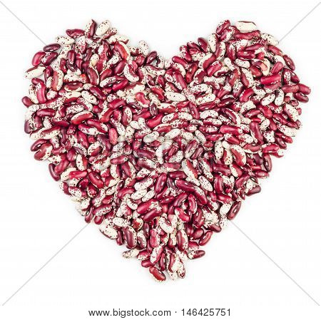 Red beans in shape of heart isolated on white background.