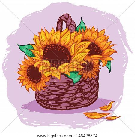 yellow flowers in a wicker basket on a pink background