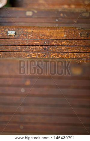 old railway wagon interior vintage. Wood texture. Close up