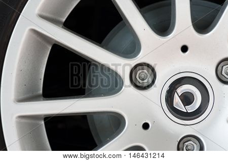 Milan, Italy - May 06, 2015: SMART alloy wheel with logo - SAMRT is a division of DAIMLER AG a well known German premium sport and luxury cars maker based in Boblingen. Germany