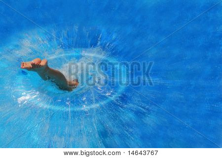 Pretty blonde woman enjoying a swimming pool in Greece