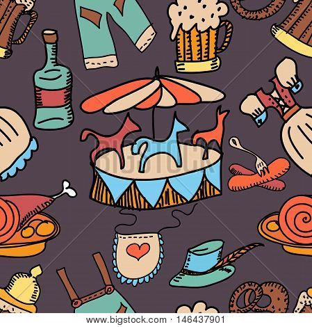 Oktoberfest themed vector set. Bavarian costumes - drindl and lederhosen,carousel, schnapps, pretzel, bratwurst sausage, beer. Hand drawn sketches. Monochrome illustration.