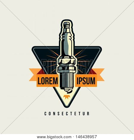 Car spark plug emblem, logotemplate isolated on white background