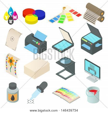 Printing icons set in cartoon style. Printing service set collection vector illustration