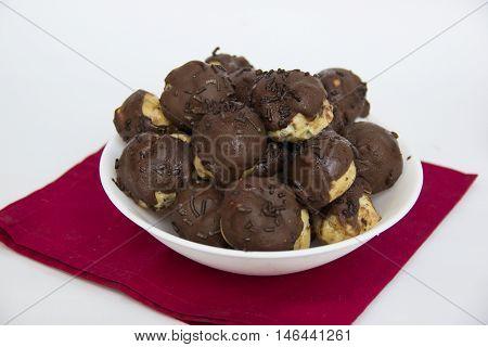 Chocolate cupcake. Carolina sweet typical Brazilian isolated on white.